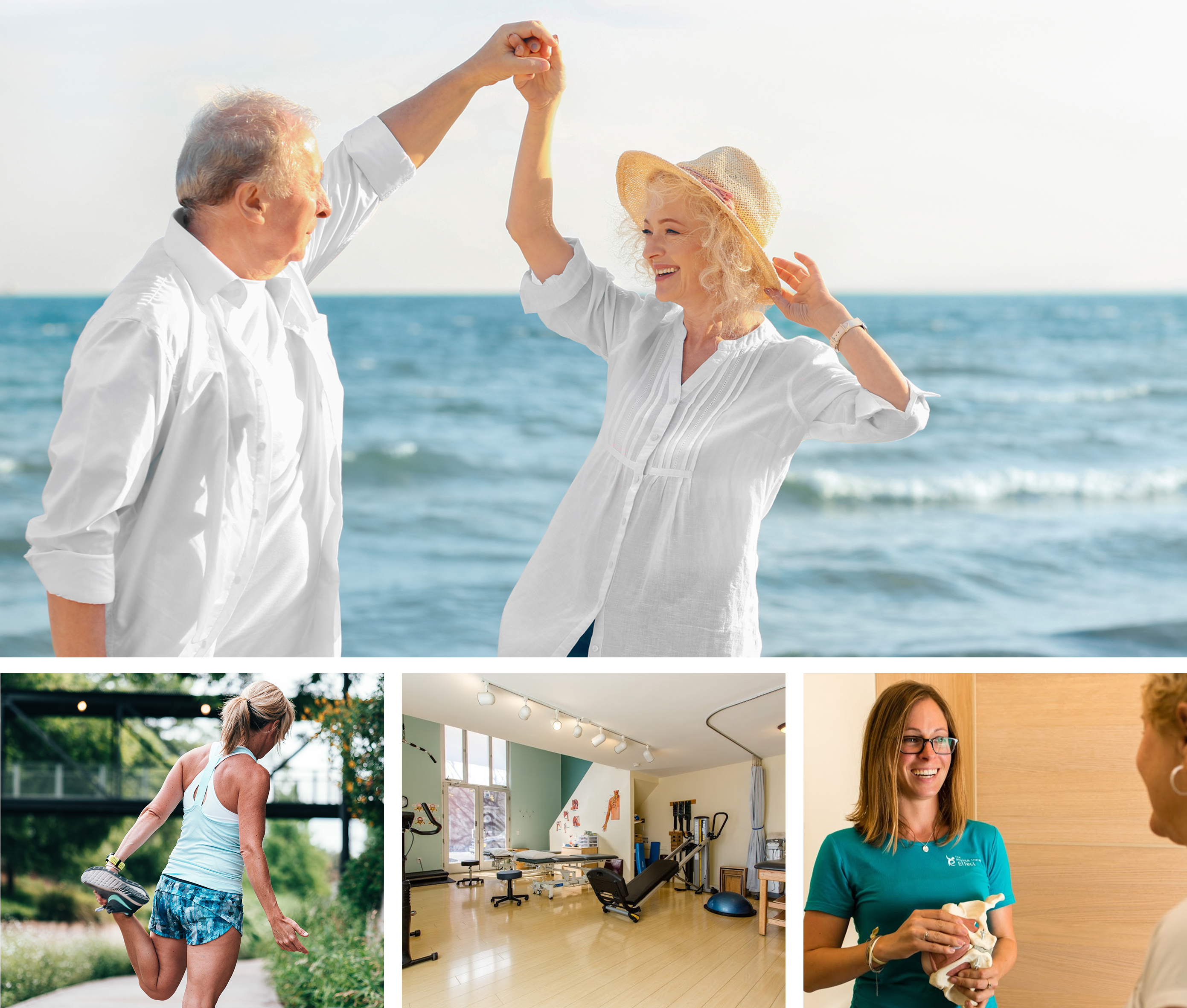 Balance training and fall prevention photo grid
